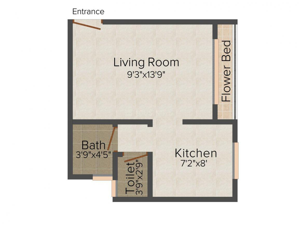 Dhavale Aaros Exotica Floor Plan: 1 BHK Unit with Built up area of 360 sq.ft 1