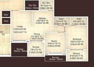 Manav Perfect 10 Floor Plan: 2 BHK Unit with Built up area of 1070 sq.ft 1
