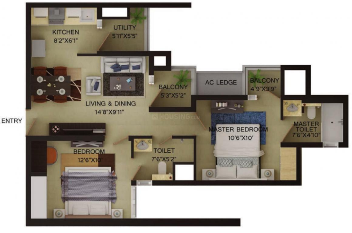 Wave Irenia Floor Plan: 2 BHK Unit with Built up area of 541 sq.ft 1