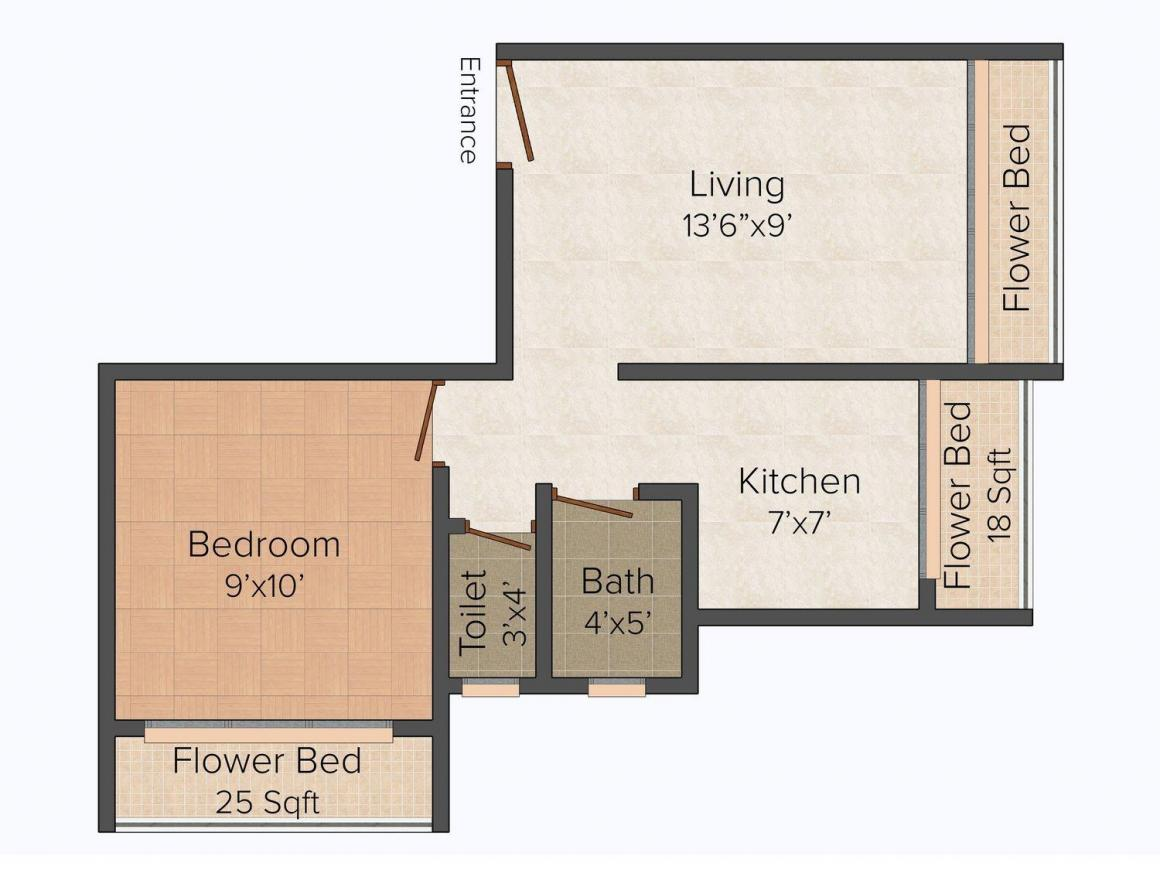 Floor Plan Image of 0 - 620.0 Sq.ft 1 BHK Apartment for buy in Om Sheetal Dham