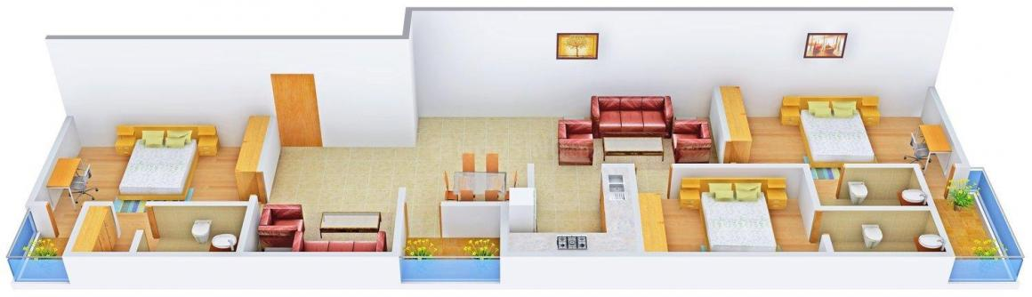 Floor Plan Image of 0 - 1732.0 Sq.ft 3 BHK Apartment for buy in Aashish The Nest