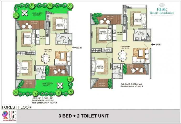 Rise Resort Residences Forest Floor Floor Plan: 3 BHK Unit with Built up area of 1475 sq.ft 1