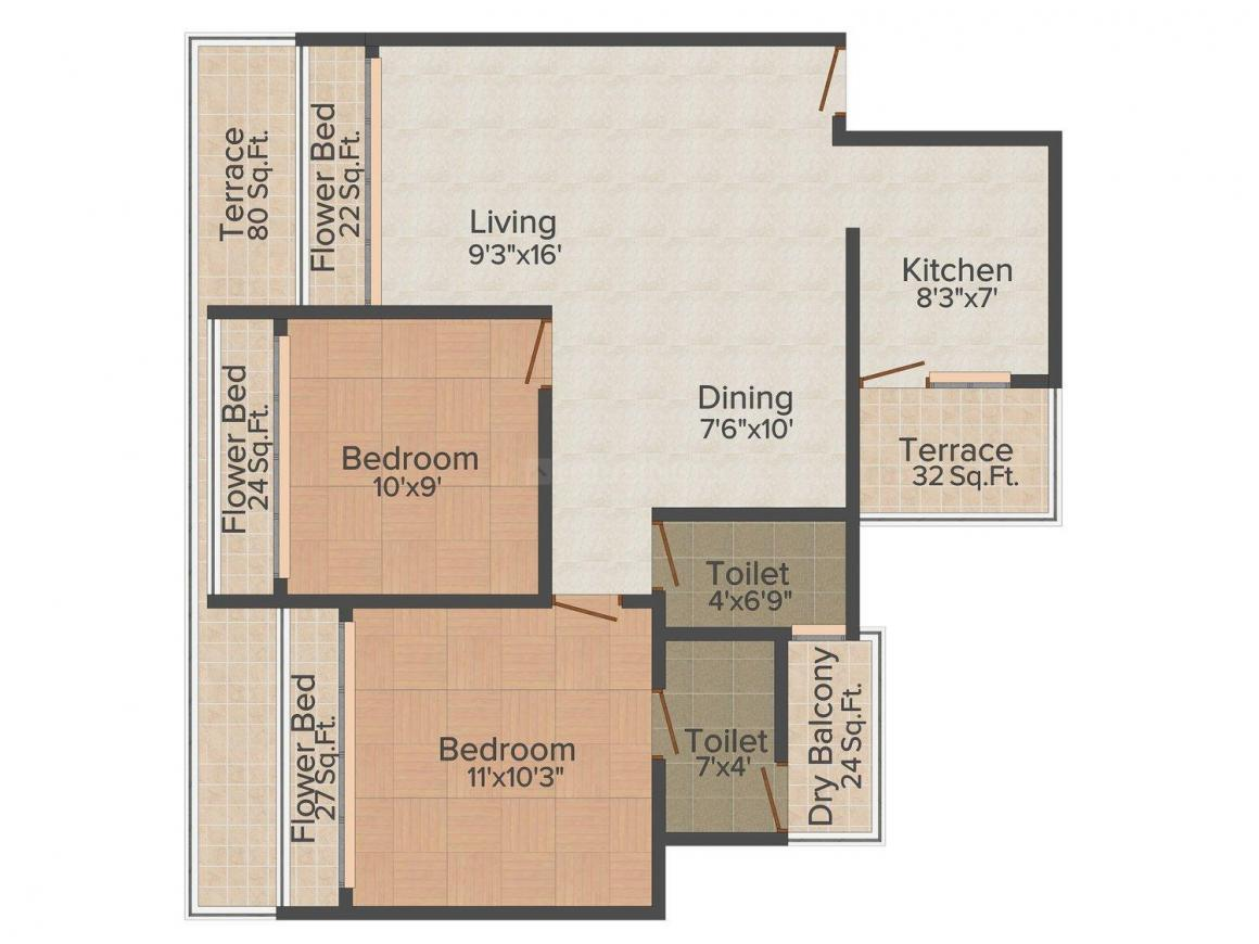Floor Plan Image of 0 - 1150.0 Sq.ft 2 BHK Apartment for buy in Om Sai Riddhi Siddhi Supreme Arcade