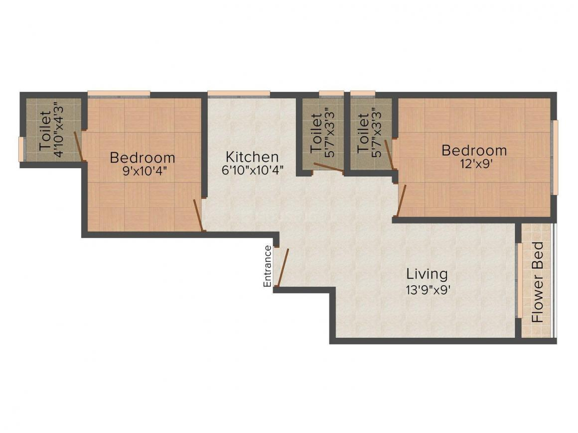 Floor Plan Image of 828.0 - 1033.0 Sq.ft 2 BHK Apartment for buy in Shree Chinmay Gaurang Shree Sawant Apartments