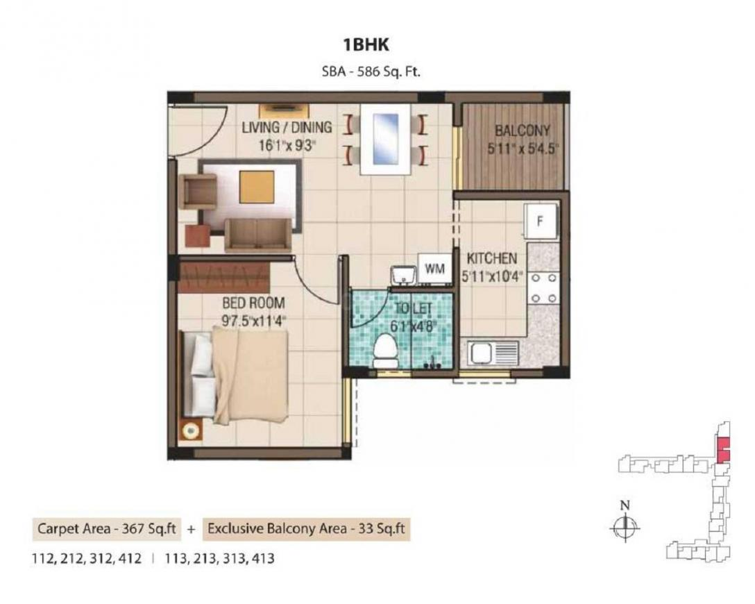Alliance Garden Front Floor Plan: 1 BHK Unit with Built up area of 586 sq.ft 1