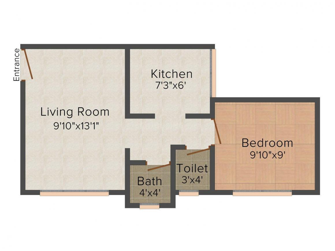 Gangaram Niwas Floor Plan: 1 BHK Unit with Built up area of 321 sq.ft 1