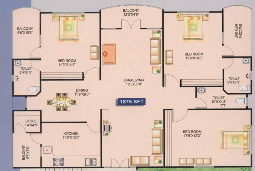 Moghal My Dream Floor Plan: 3 BHK Unit with Built up area of 1875 sq.ft 1
