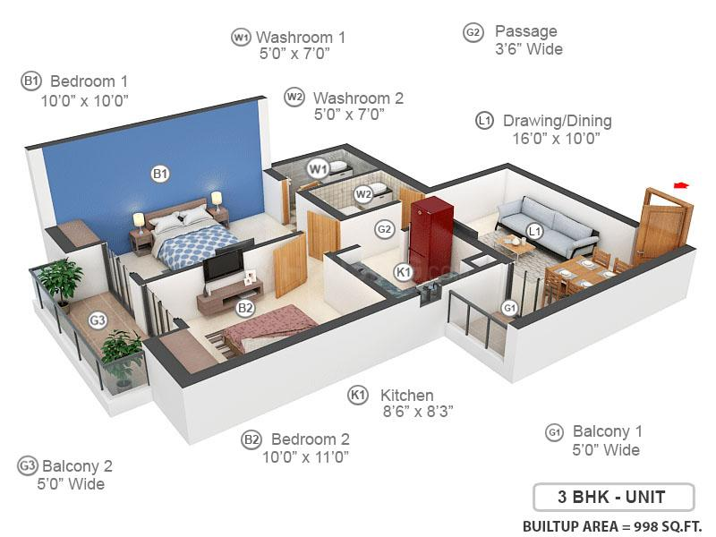 Apex The Kremlin Floor Plan: 2 BHK Unit with Built up area of 998 sq.ft 1