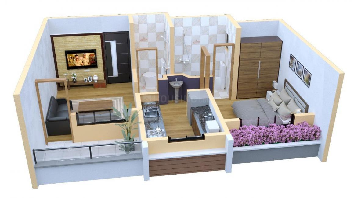 Ushakiran Enclave Floor Plan: 1 BHK Unit with Built up area of 417 sq.ft 1