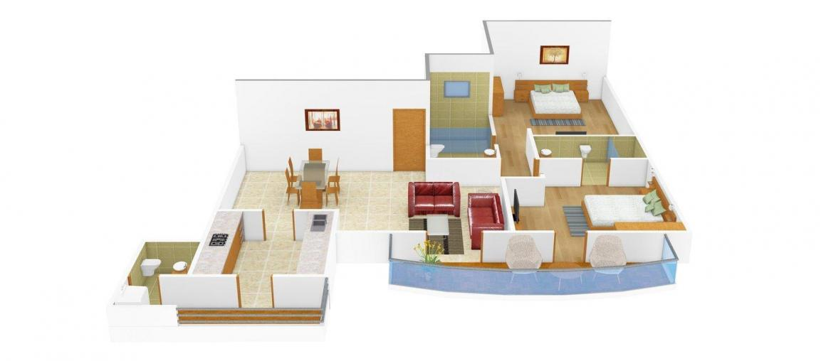 Floor Plan Image of 1395.0 - 2950.0 Sq.ft 2 BHK Apartment for buy in Trishul Aahika Apartments