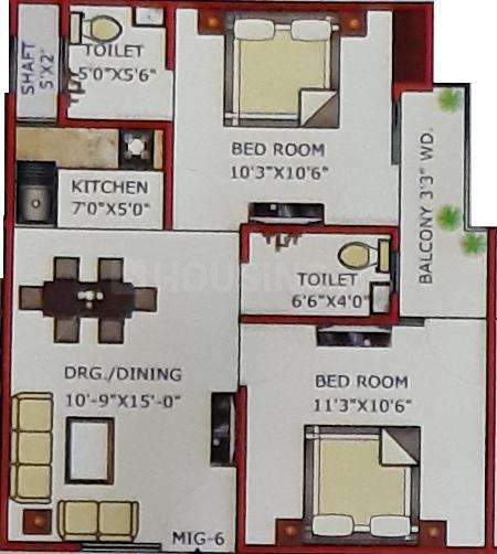 Floor Plan Image of 800.0 - 900.0 Sq.ft 2 BHK Apartment for buy in Neelkanth Dream Home
