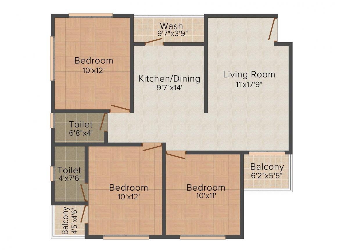 Floor Plan Image of 0 - 980.0 Sq.ft 3 BHK Apartment for buy in Shreeji Samruddhi