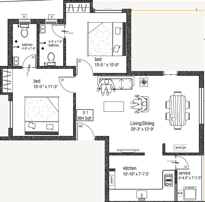 Sri Nakshatra Floor Plan: 2 BHK Unit with Built up area of 864 sq.ft 1