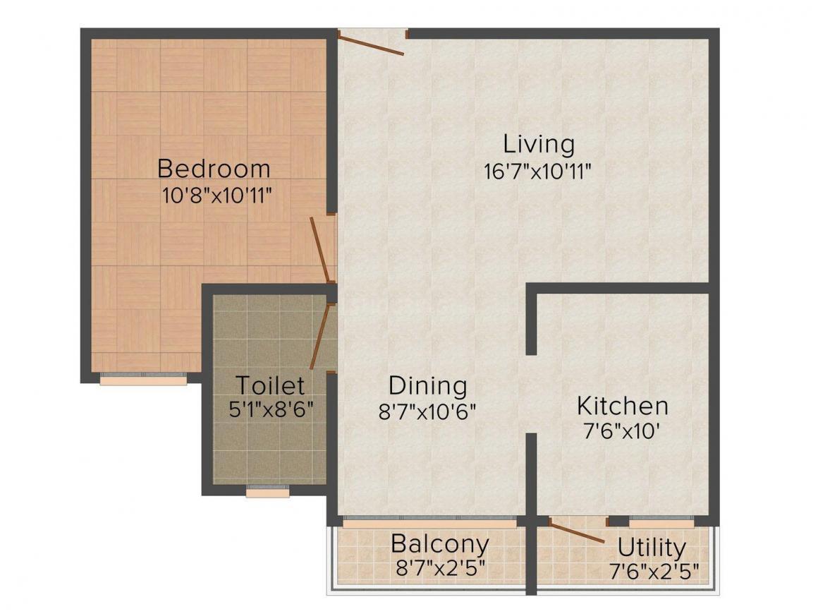 Floor Plan Image of 635.0 - 1568.0 Sq.ft 1 BHK Apartment for buy in Sobha Elan