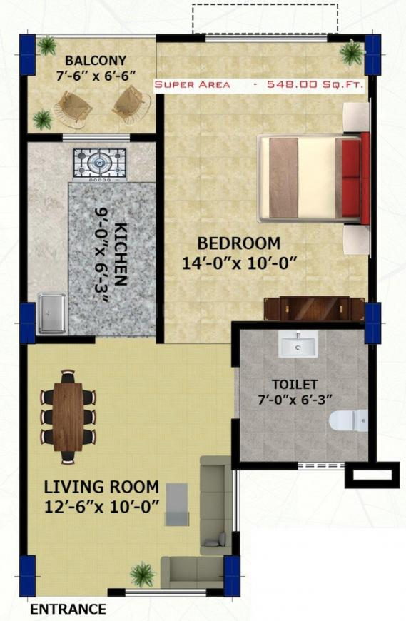 THE CITADEL Apartments Floor Plan: 1 BHK Unit with Built up area of 548 sq.ft 1