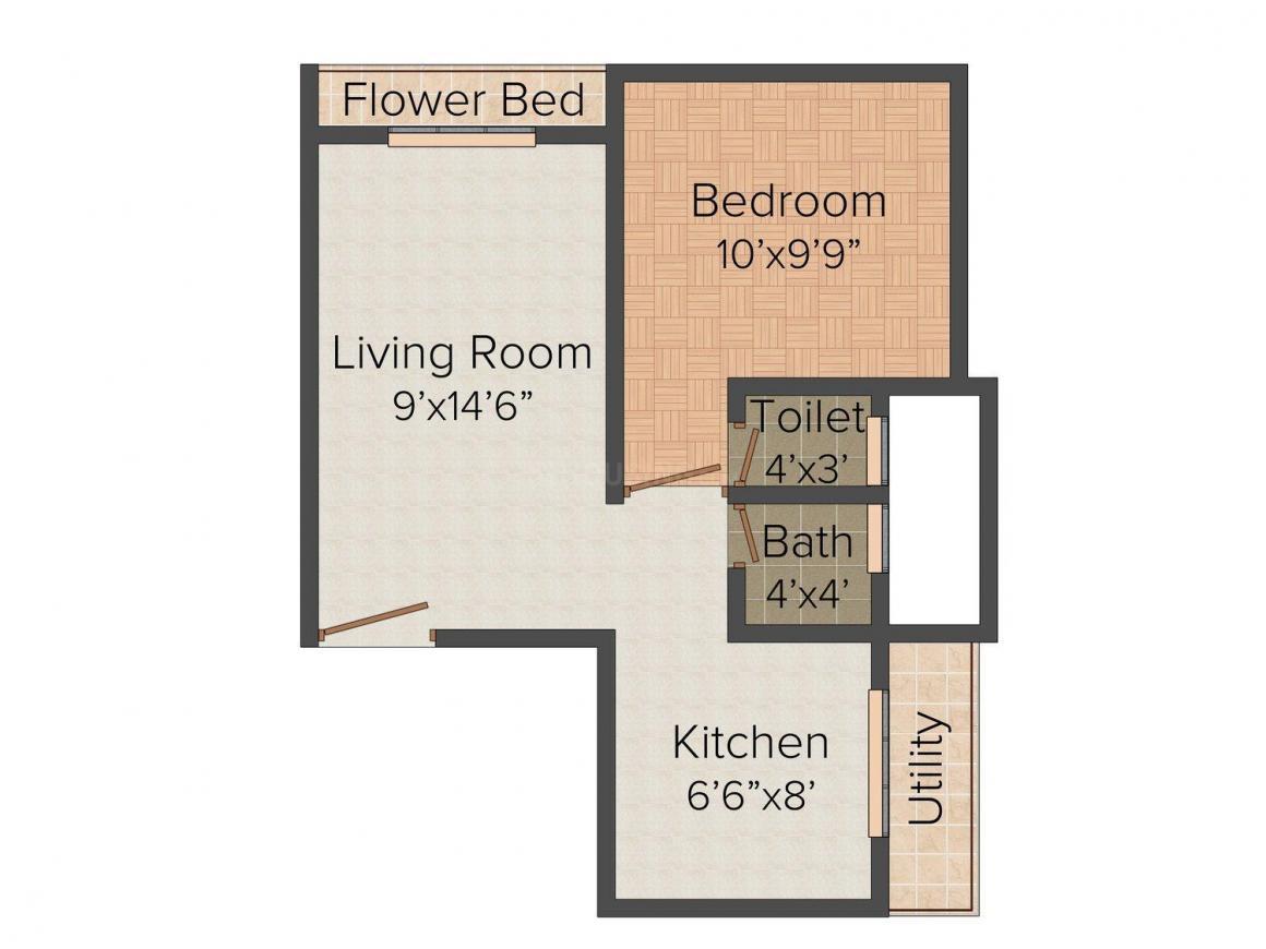 Floor Plan Image of 0 - 630 Sq.ft 1 BHK Apartment for buy in Malik Platinum Apartment