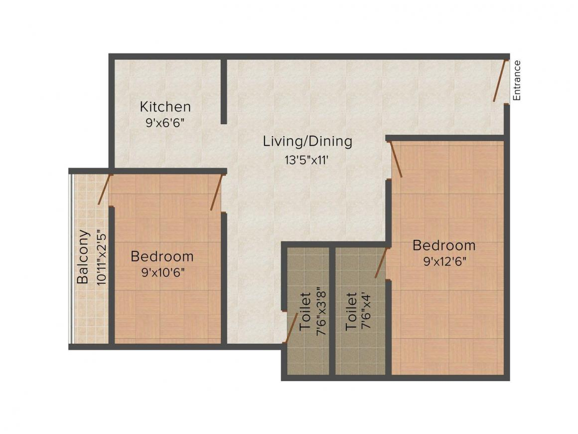 Floor Plan Image of 0 - 776 Sq.ft 2 BHK Independent Floor for buy in ASR Hridyam Flats
