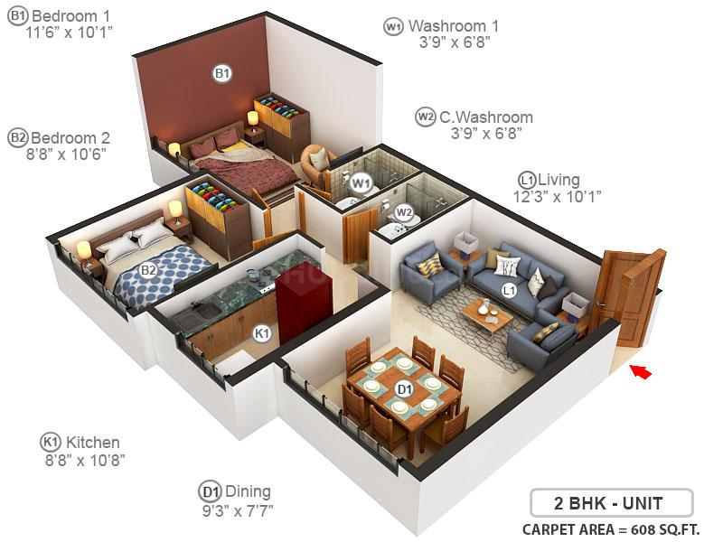 Balaji Symphony Floor Plan: 2 BHK Unit with Built up area of 608 sq.ft 1