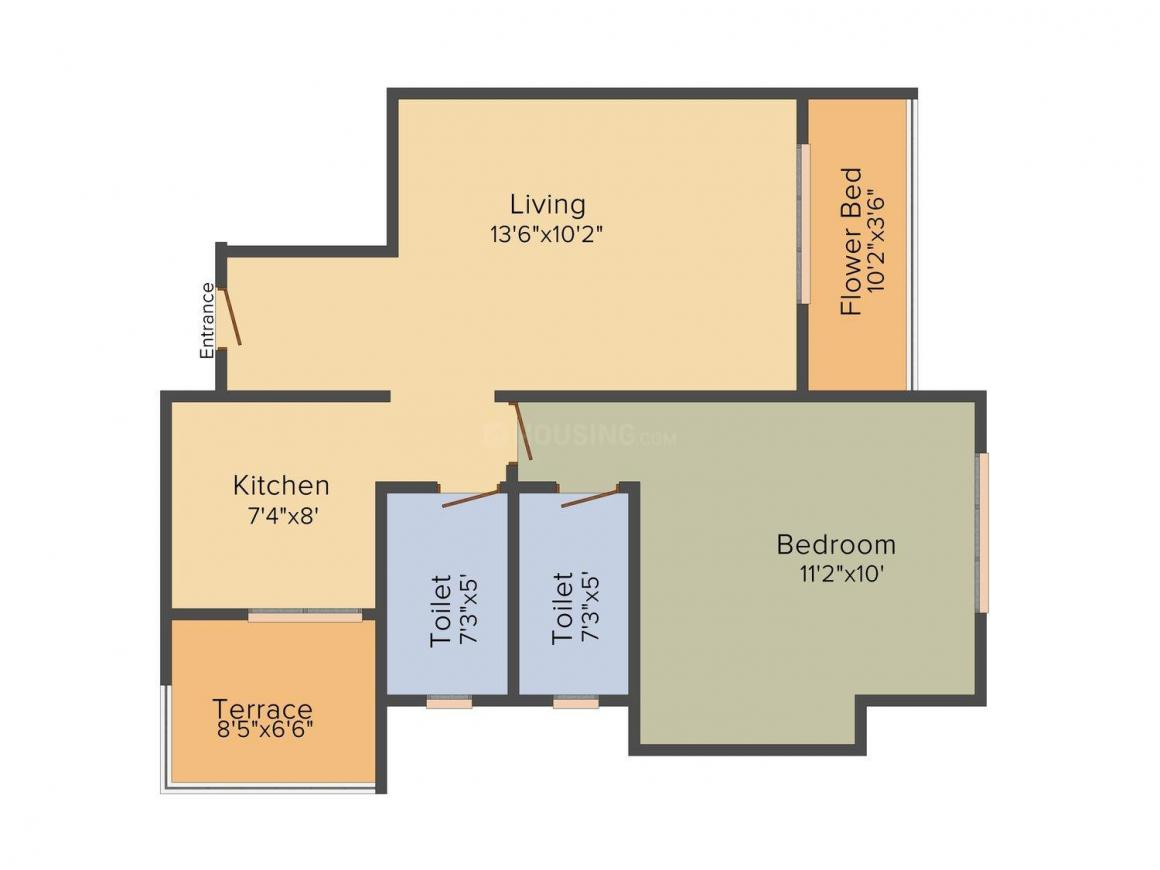 Floor Plan Image of 670.0 - 910.0 Sq.ft 1 BHK Apartment for buy in RDC Woods