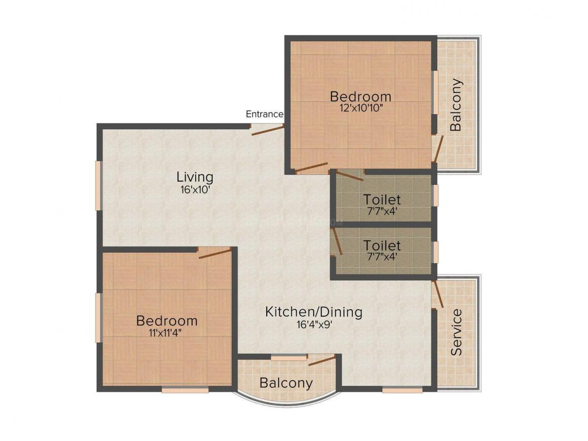 Wilsons Tulip Floor Plan: 2 BHK Unit with Built up area of 1022 sq.ft 1