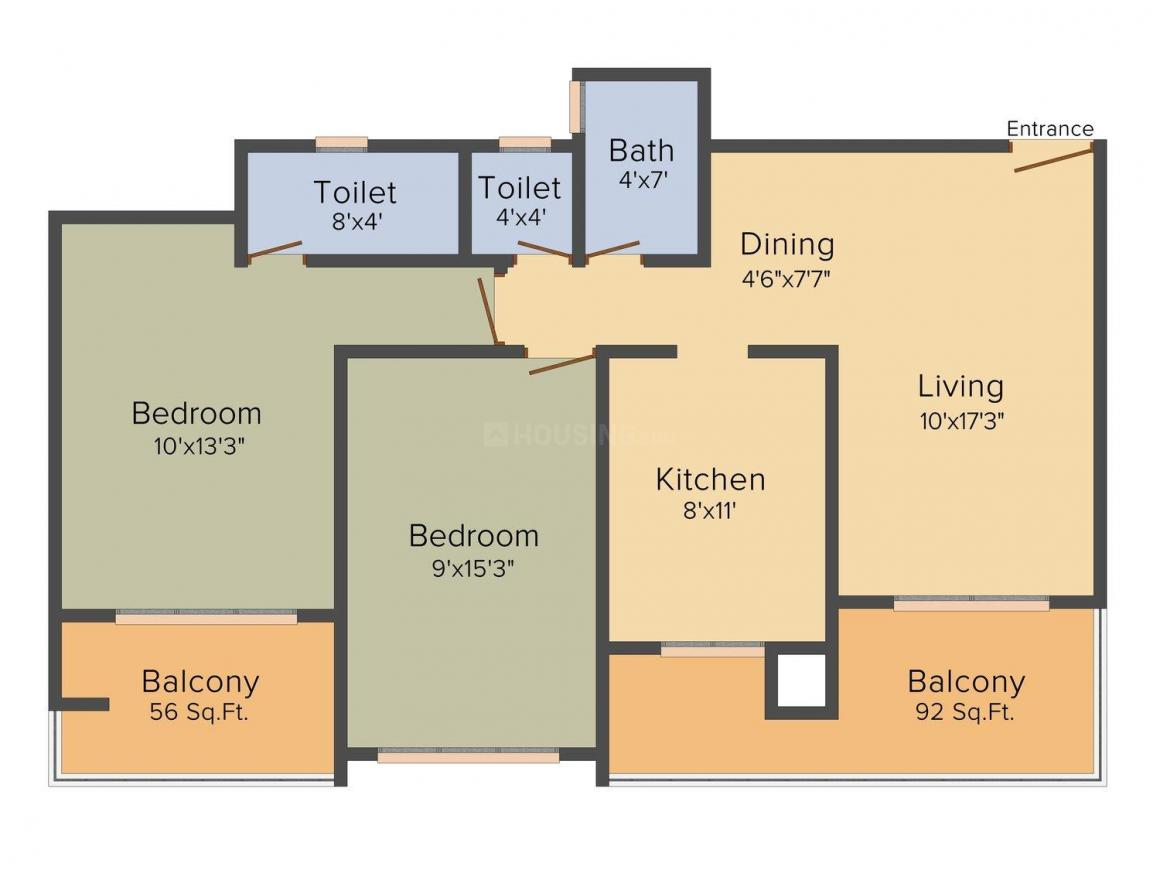 Floor Plan Image of 0 - 980.0 Sq.ft 2 BHK Apartment for buy in Bafna Orchid
