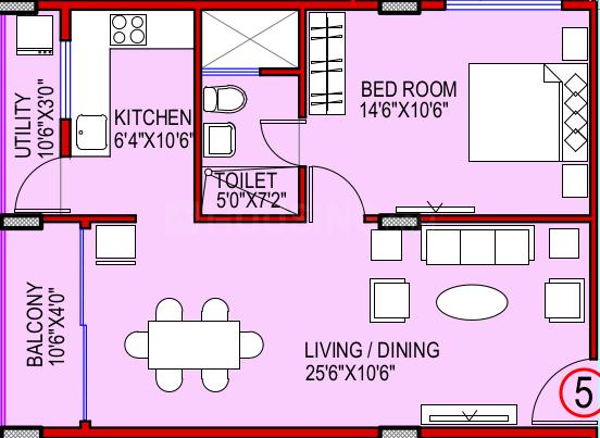Ashish A N Reddy Apartment Floor Plan: 1 BHK Unit with Built up area of 823 sq.ft 1