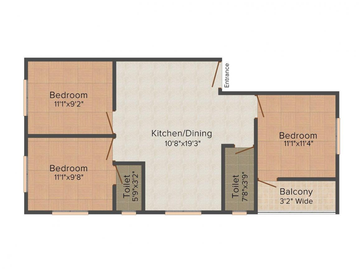 Floor Plan Image of 0 - 1075 Sq.ft 3 BHK Apartment for buy in  99 Bansdroni