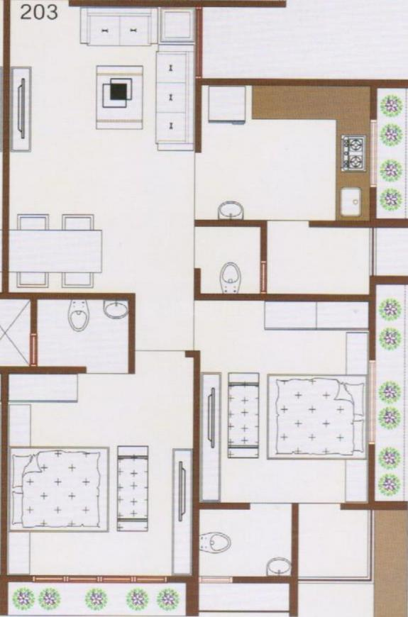 Moin Salman Avenue Floor Plan: 2 BHK Unit with Built up area of 1242 sq.ft 1