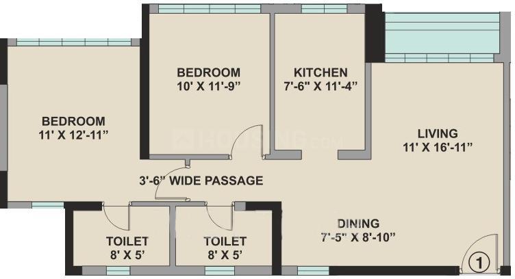 Kalpataru Aura Floor Plan: 2 BHK Unit with Built up area of 1143 sq.ft 1