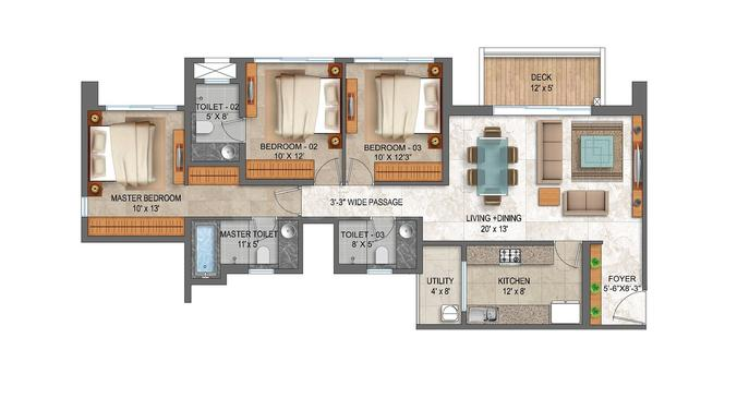 Lodha Palava Serenity C Floor Plan: 3 BHK Unit with Built up area of 1052 sq.ft 1