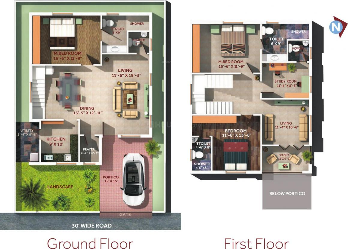 ZR Shangrila Villas Floor Plan: 3 BHK Unit with Built up area of 2700 sq.ft 1