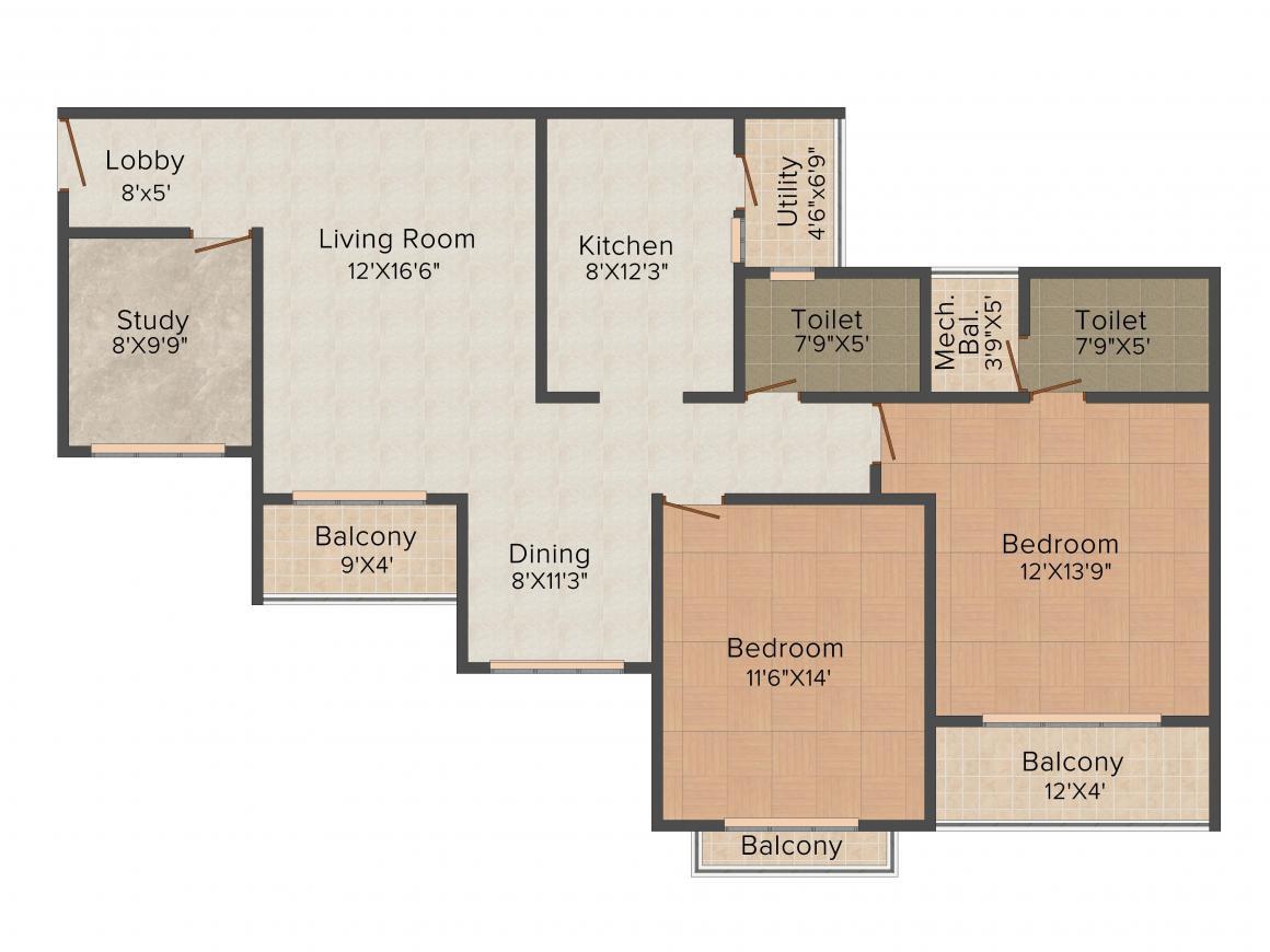 Floor Plan Image of 1356 - 2945 Sq.ft 2.5 BHK Apartment for buy in Nitesh Melbourne Park