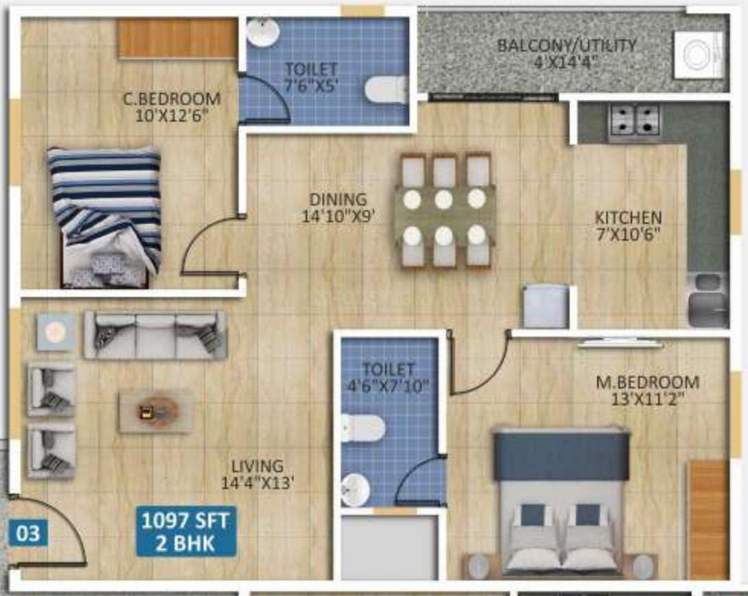 Vardheeni Sumeru Residency Floor Plan: 2 BHK Unit with Built up area of 1097 sq.ft 1