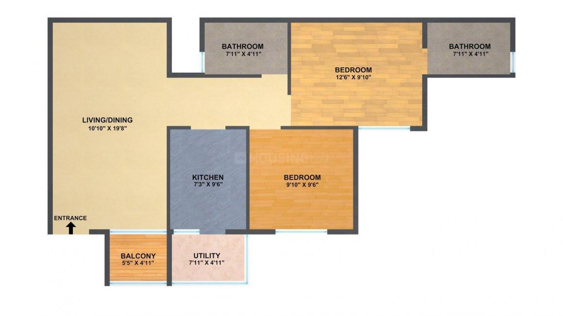 Floor Plan Image of 1371.7 - 1492 Sq.ft 3 BHK Apartment for buy in Concorde Tech Turf