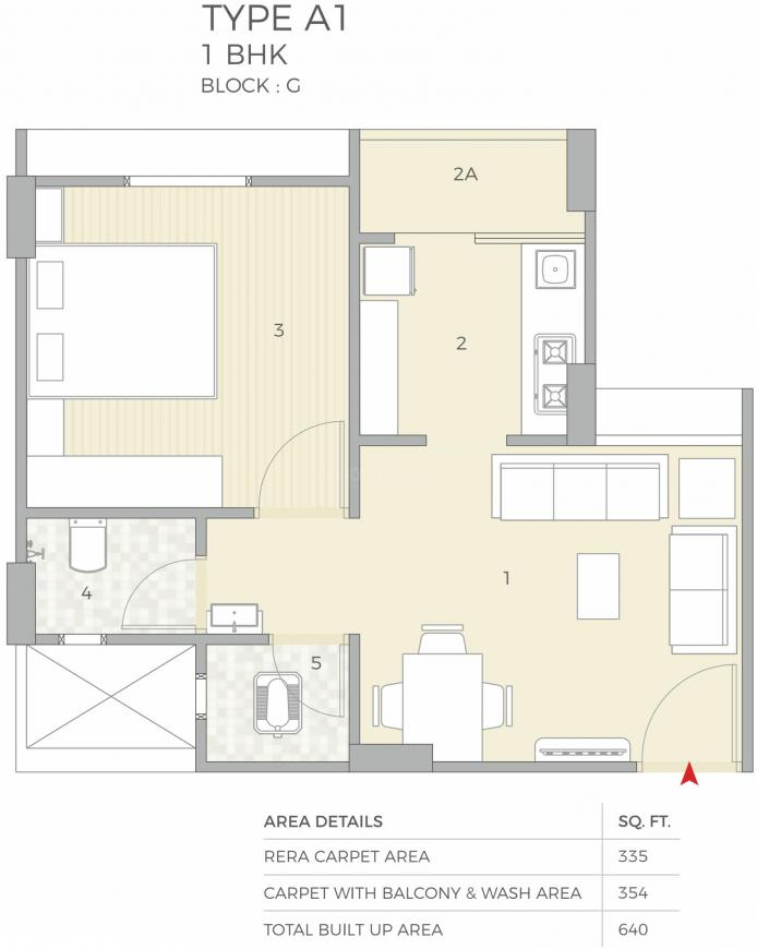 Nila Anant Sky Floor Plan: 1 BHK Unit with Built up area of 335 sq.ft 1