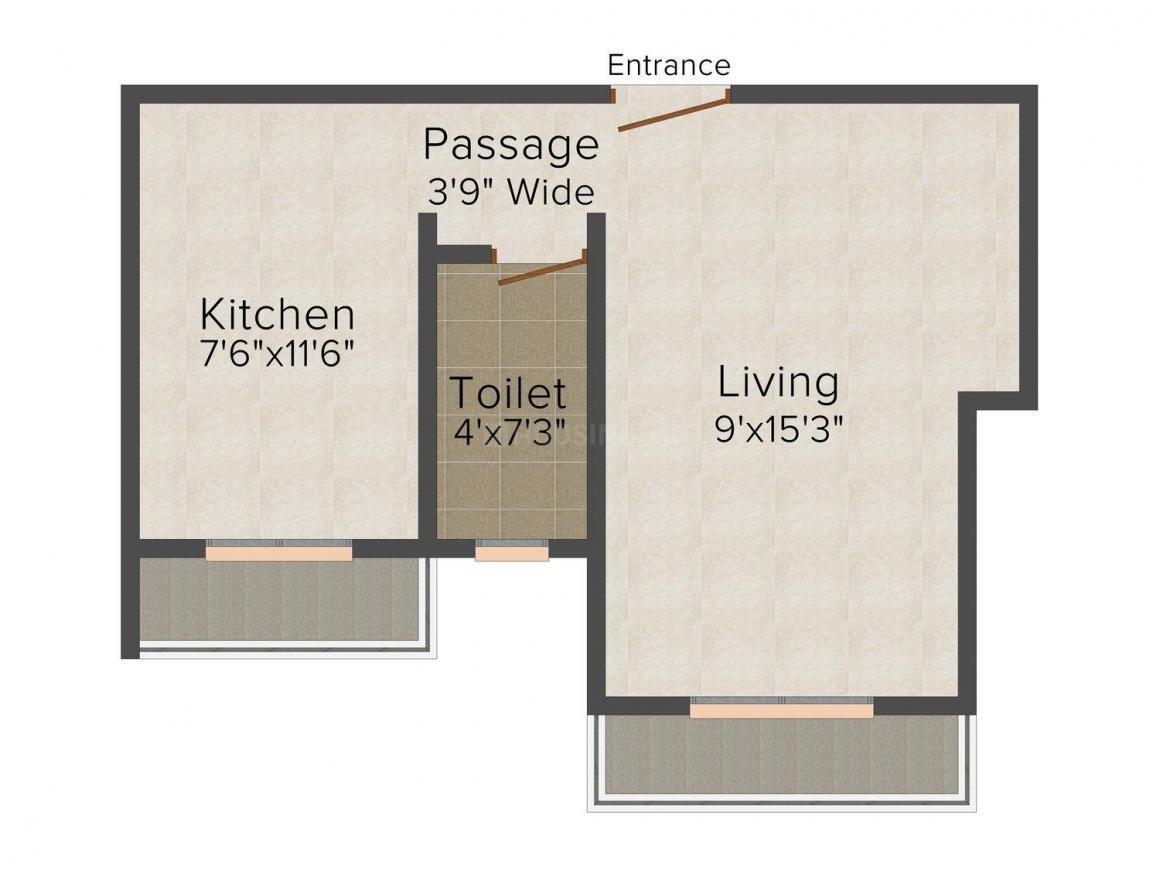 Floor Plan Image of 470.0 - 660.0 Sq.ft 1 RK Apartment for buy in Arham Prakash Icon