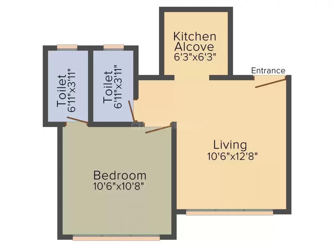 Marathon Nexworld Elara 1 Floor Plan: 1 BHK Unit with Built up area of 332 sq.ft 2