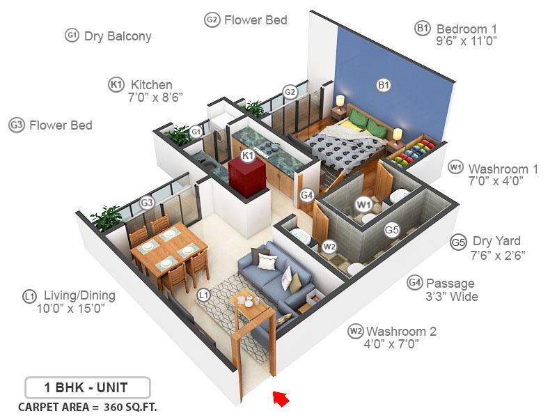 Sanghvi Group Sanghvi S3 Ecocity Woods Floor Plan: 1 BHK Unit with Built up area of 360 sq.ft 1