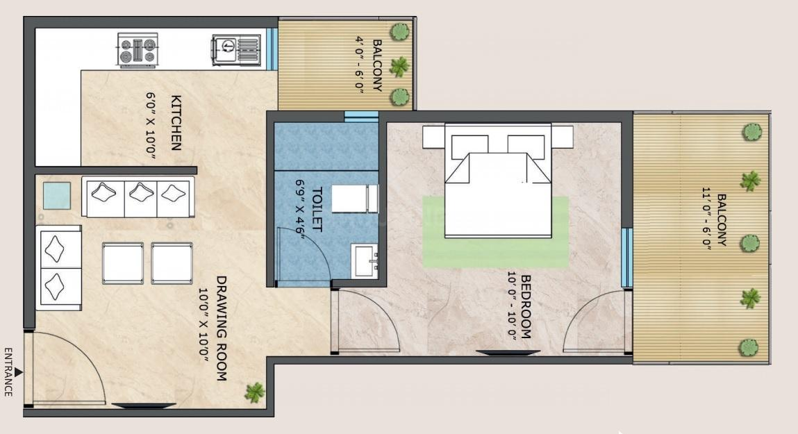 Adore Happy Homes Pride Floor Plan: 1 BHK Unit with Built up area of 318 sq.ft 1