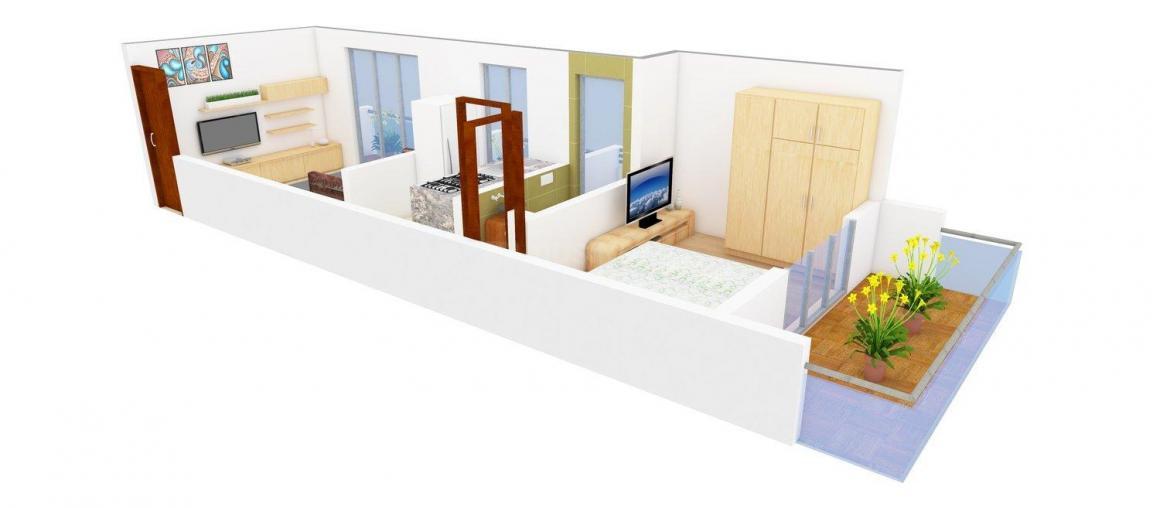 Floor Plan Image of 680.0 - 730.0 Sq.ft 1 BHK Apartment for buy in Radhe Krishna Krishna Classic
