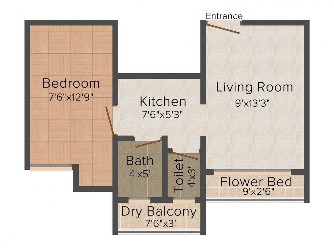 Floor Plan Image of 485.0 - 815.0 Sq.ft 1 BHK Apartment for buy in K. C. Jain Pawanputra Enclave