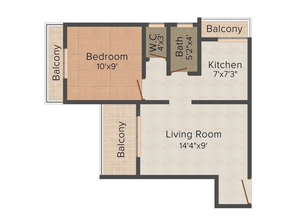 Floor Plan Image of 427 - 950 Sq.ft 1 BHK Apartment for buy in Ganga Darshan