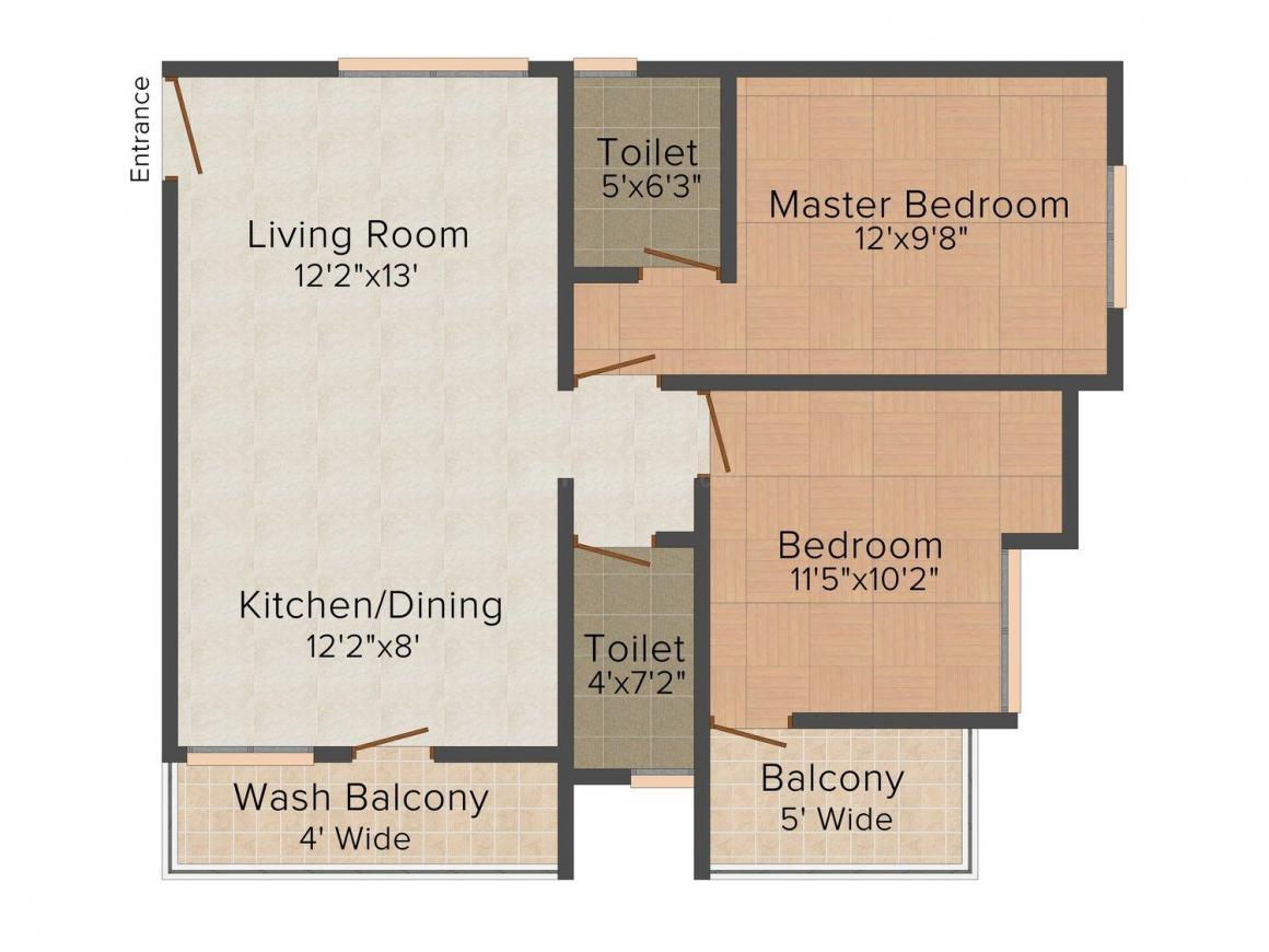 Floor Plan Image of 0 - 1100.0 Sq.ft 2 BHK Apartment for buy in Royal Plaza