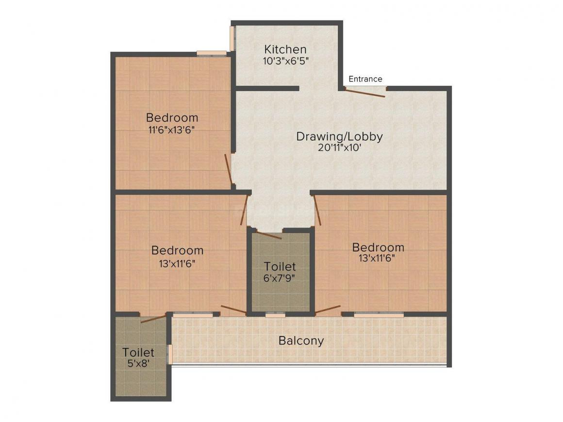 Platinum Homez Floor Plan: 3 BHK Unit with Built up area of 972 sq.ft 1