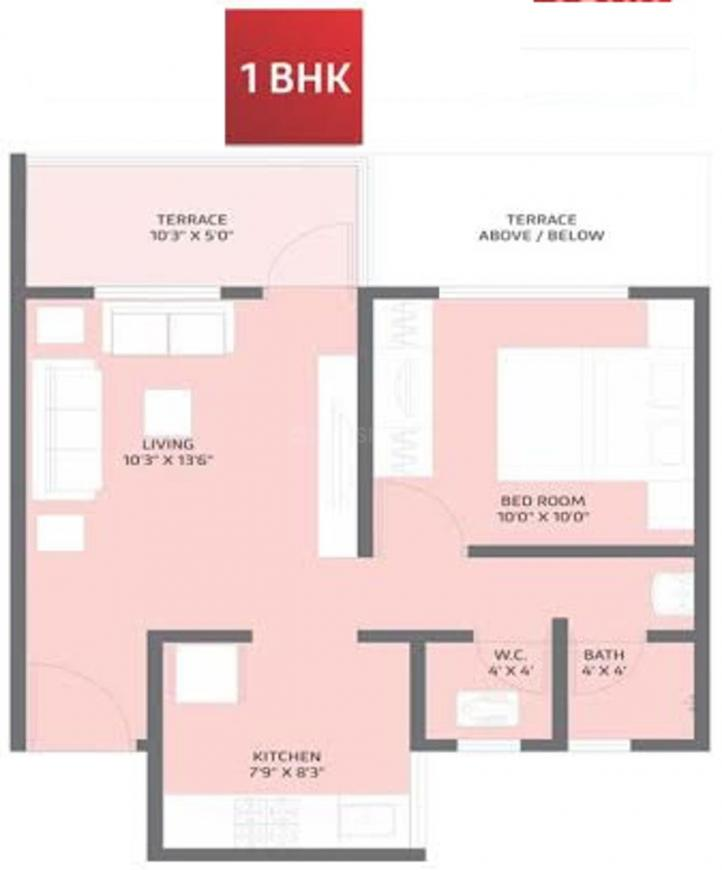 Floor Plan Image of 358.12 - 548.21 Sq.ft 1 BHK Apartment for buy in