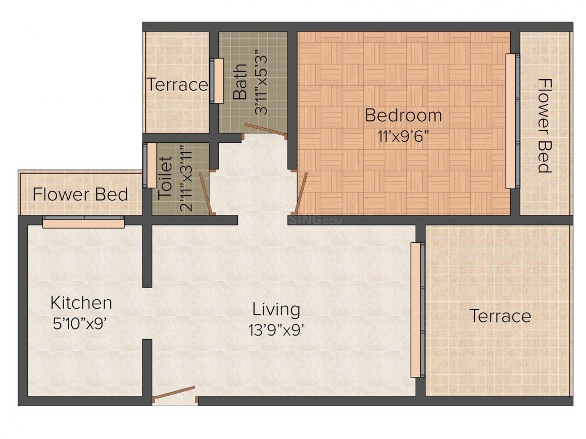 Floor Plan Image of 614 - 623 Sq.ft 1 BHK Apartment for buy in Shiv Ganesh