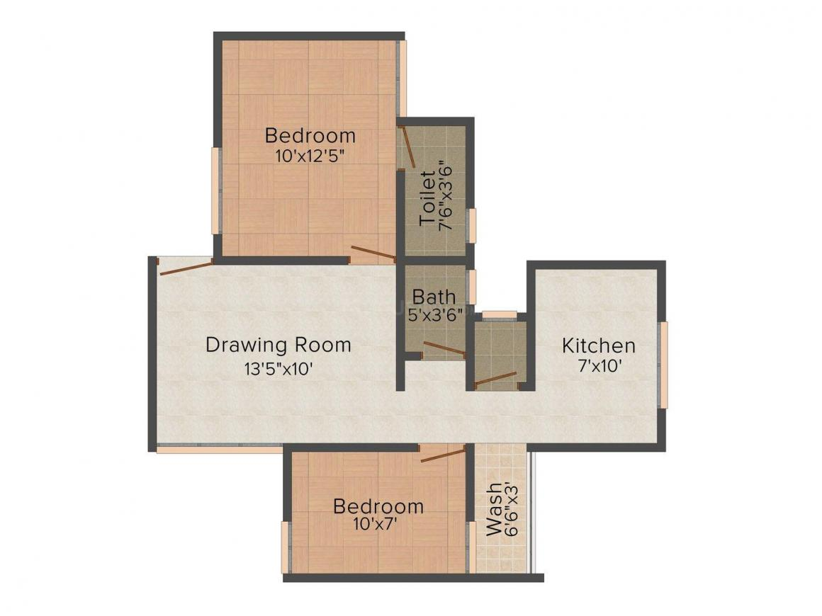 Floor Plan Image of 420.0 - 910.0 Sq.ft 1 BHK Apartment for buy in Ganesh Riddhi & Siddhi Flats