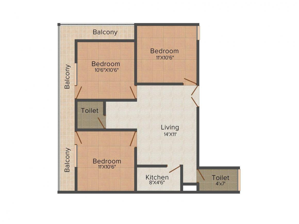 Nakheel - 2 Floor Plan: 3 BHK Unit with Built up area of 895 sq.ft 1