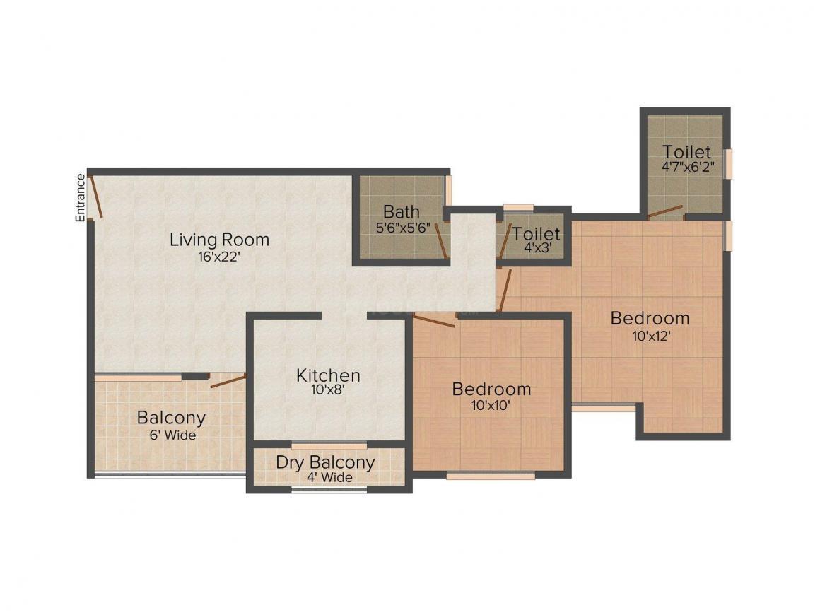 Floor Plan Image of 0 - 920 Sq.ft 2 BHK Apartment for buy in Omkar Ganadhish Apartment
