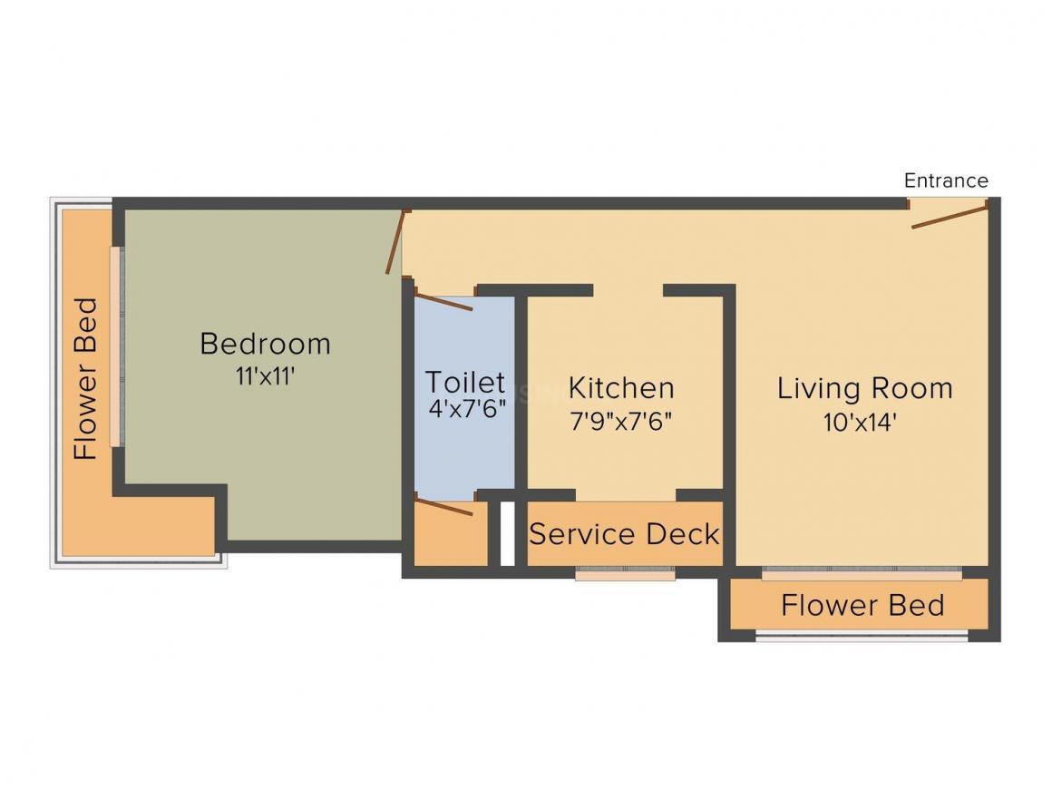 Floor Plan Image of 407 - 925 Sq.ft 1 BHK Apartment for buy in Sai Baba Panchpakhandi Jewel